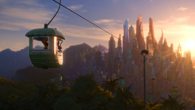 Judy og Nick tar en taubane med vakker utsikt i Zootropolis (Foto: The Walt Disney Company Nordic).