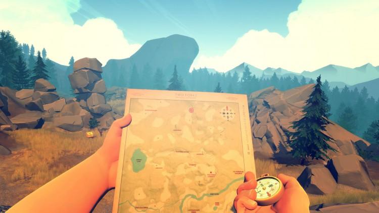 Du må bruke kart og kompass for å finne veien i skgen i Walkie-talkien er allitd med på tur i Firewatch. (Foto: Campo Santo).