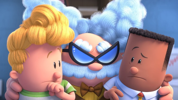 "Thomas og Harald får problemer med den nye historielæreren, professor Bæsjebleie, i ""Kaptein Supertruse: Den første episke filmen"". (Foto: Twentieth Century Fox)"