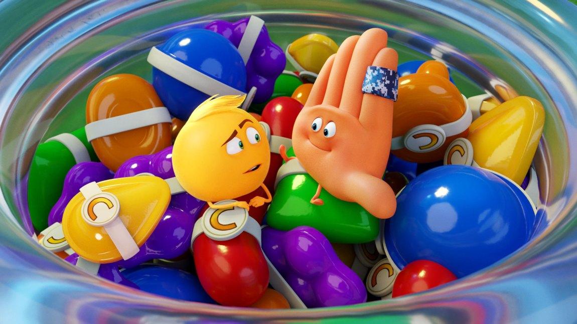 Candy Chrush er en v de mange merkevarene som får rikelig med reklame i Emojifilmen. En kommer ikke unna at det virker som det er merkevarer og ikke kreativ skrivekunst som har styrt mye av manusarbeidet. (Foto: United International Pictures)