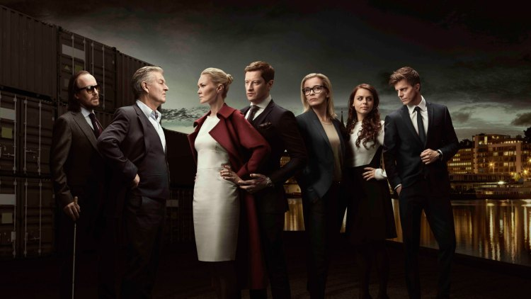 Byen er Bergen, og laget er... disse fiktive advokatene. (Foto: TV3 og Viaplay)