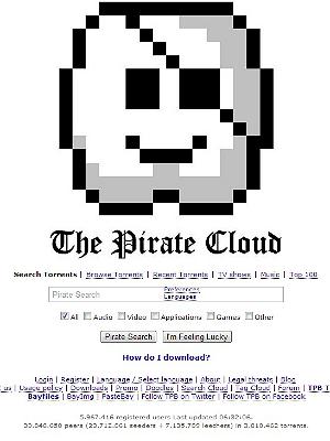 The Pirate Bay kaller seg nå også The Pirate Cloud. Foto: Skermdump, thepiratebay.se.