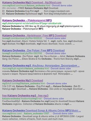 Blant de ti første treffene etter søket «Kaizers Orchestra mp3» var det ett som leda til en side der man kan kjøpe musikken lovlig. Foto: Skjermdump.