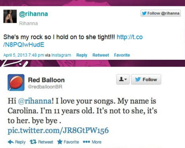 RedBalloon svarer Rihanna. (Skjermdump, Twitter)