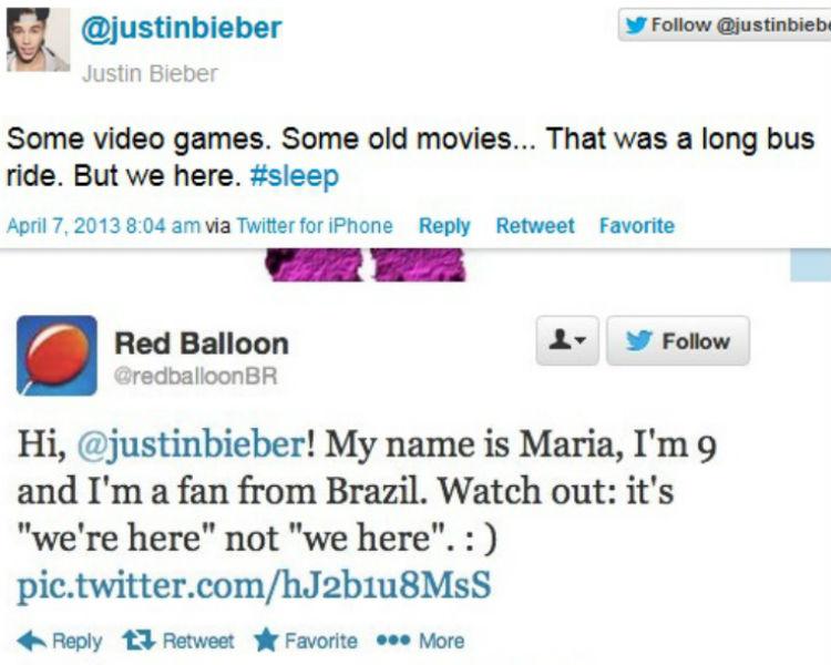 RedBaloon svarer Justin Bieber. (Skjermdump, Twitter)