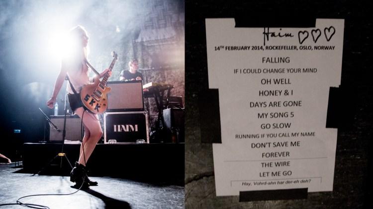 Este Haim og setlisten til bandet. Sjekk ut siste setning på arket. Moro. (Foto: Kim Erlandsen, NRK P3)