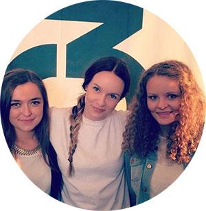 Elsa&Emilie på besøk hos Christine på P3 (Foto: P3 Instagram)
