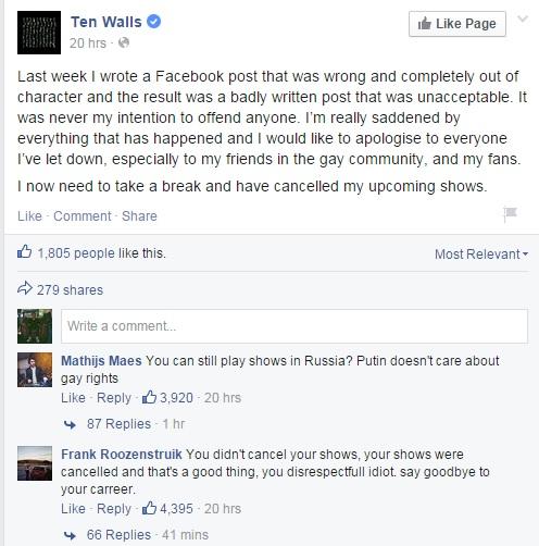 Ten Walls får hard kritikk, selv fra fansen.  Skjermdump: facebook.com/tenwalls