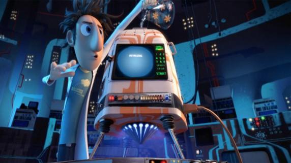 """Flint og hans matmaskin i """"Det regner kjøttboller"""" (Foto/Copyright: Walt Disney Studios Motion Pictures Norway)."""