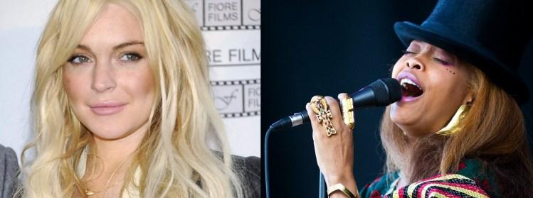 Erykah Badu og Lindsay Lohan (Foto: AP Photo/Evan Agostini/Jeff McIntosh)