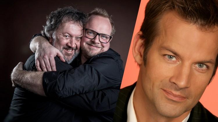 Jon Almaas gjester første utgave av Steinar og Bjørns bærbare fredagsparty (foto: Kim Erlandsen/Anne Liv Ekroll, NRK).
