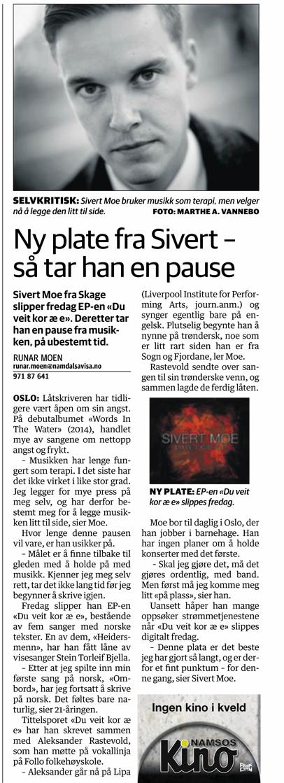 Sivert Moe i Namdalsavisa etter slippet av den siste EPen.  (Faksimile: Namdalsavisa 13.01.2015)