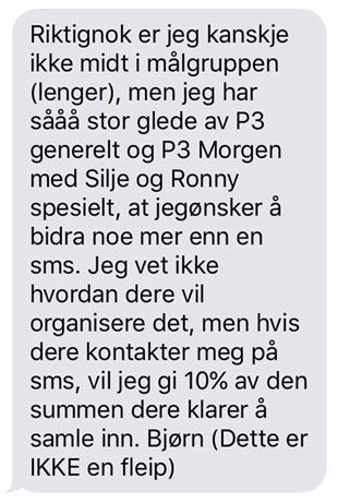 Tekstmelding fra millionær. P3aksjonen 2015.