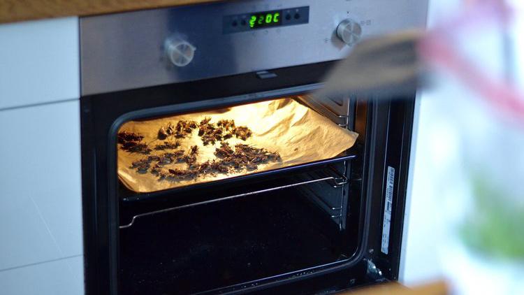 Gresshoppene vil faktisk lukte litt som svor når de er ferdige i ovnen. Foto: Amalie Skevik