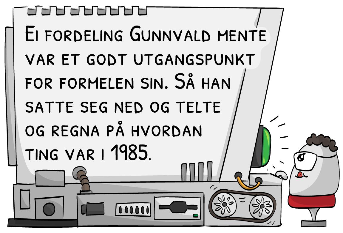 Ei fordeling Gunnvald mente var et godt utgangspunkt for formelen sin. Så han satte seg ned og telte og regna på hvordan ting var i 1985.