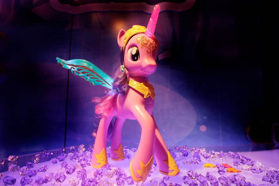 FILE - In this Feb. 12, 2013 file photo, Hasbro's My Little Pony Feature Princess Twilight Sparkle pony is displayed at the American International Toy Fair in New York. Hasbro Inc.'s reports quarterly earnings on Monday, Feb. 10, 2014. (AP Photo/Mark Lennihan, File)
