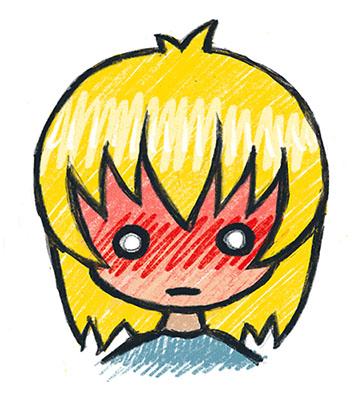 Illustrasjon av ei jente med blondt hår som er raud i fjeset og ser sjokkert ut.