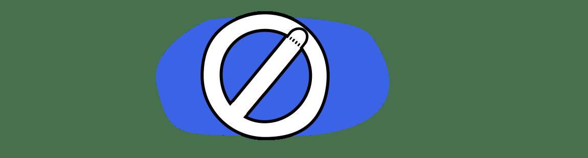 Illustrasjonen viser et forbudtskilt, hvor streken i midten minner om en penis.