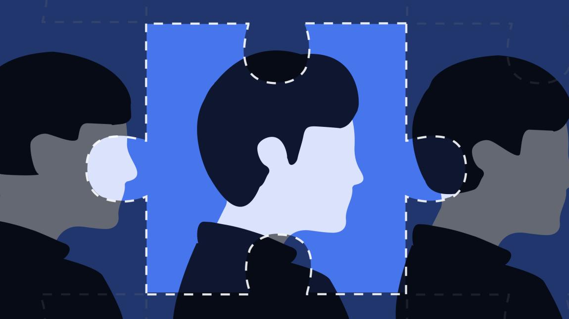 Illustrasjonen viser tre menn. Den i midten er innrammet som en puslespillbrikke. Illustrasjonen symboliserer å være en del av et puslespillet, som den siste brikken som faller på plass.