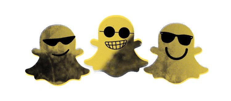 Illustrasjonsbilde: Tre snapchat-ikoner sentrert med hvit bakgrunn. Alle tre har mistenkelige og lumske smil, og har på seg solbriller.