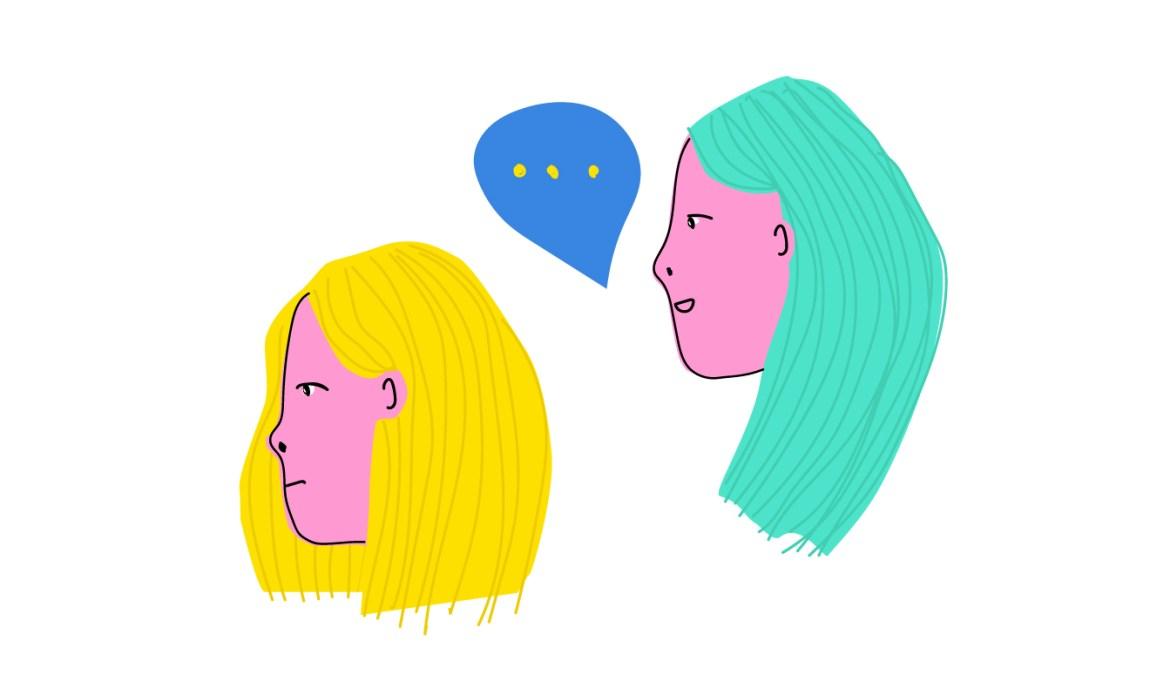 Teikning av ei jente med gult hår som stirrar surt framfor seg. Bak står ei jente med grønt hår. Ho smilar og pratar til veninna som prøvar å ignorera ho.
