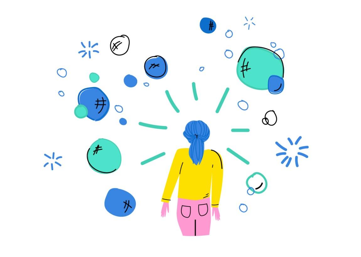Teikning av ei jente som står med ryggen til. Ho har blått hår satt opp i strikk, gul gensar og rosa bukser. Ho er omgitt av grøne, blå og kvite bobler som sprekk.