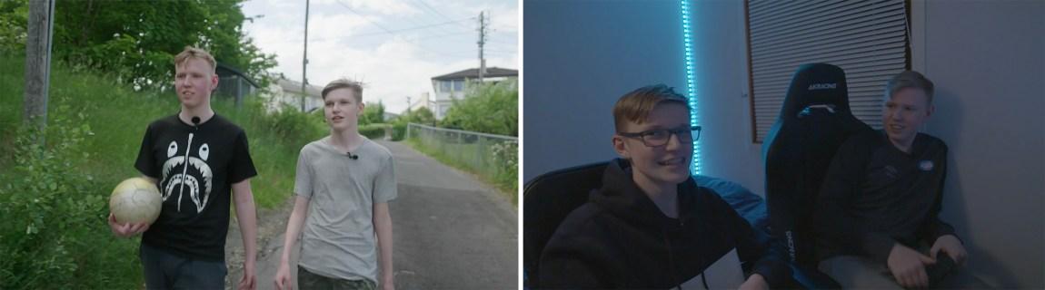 To skjermbilder av brødrene Magnus og Jonas. Begge skjermbildene er hentet fra TV-serien «Gamerne». På det ene er de utendørs med en ekte fotball, på det andre er de innendørs og spiller digital fotball (FIFA)