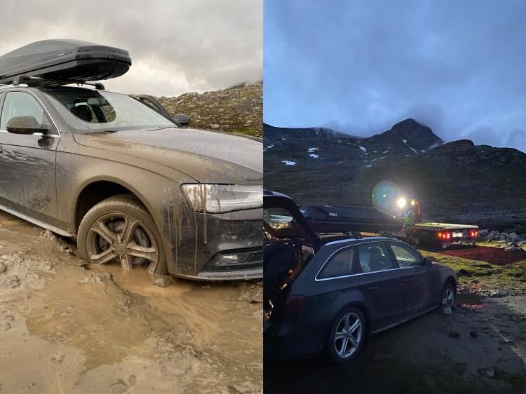 To bilder er sammensatt til ett. På venstre halvdel ser vi at bilen til Helene har satt seg fast i dyp gjørme, og at bildet er tatt på dagtid. På høyre halvdel er bilen blitt tauet og reddet av Viking, men ikke før det er blir mørkt ute.