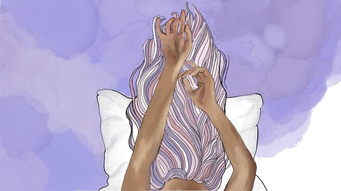 Illustrasjon av jente som ligg med hovudet på puta og holder armene over hovudet. Bakgrunnen er mørkelilla medan hårfargen er i lyslilla farger.