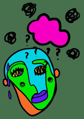 Ein illustrasjon i picasso-stil. Eit fargerikt, dekonstruert ansikt ser lei seg ut. Over henger ei rosa sky som regner spørsmålsteikn og svarte krussedullar.