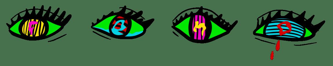 Fire auger er teikna på rekke og rad. Augo er grøne, med fargerike pupillar. Eit gret raude tårer, og inne i pupillane ser me ein bokstav, i alle fire augene staver det FOMO.