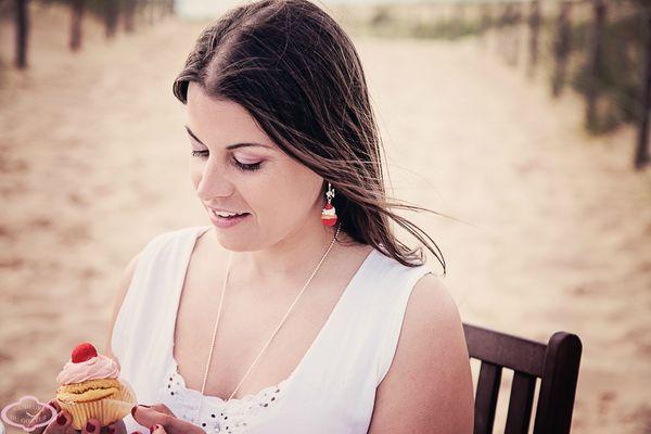 Bijoux gourmands Boucles d'oreille Cupcake fraise