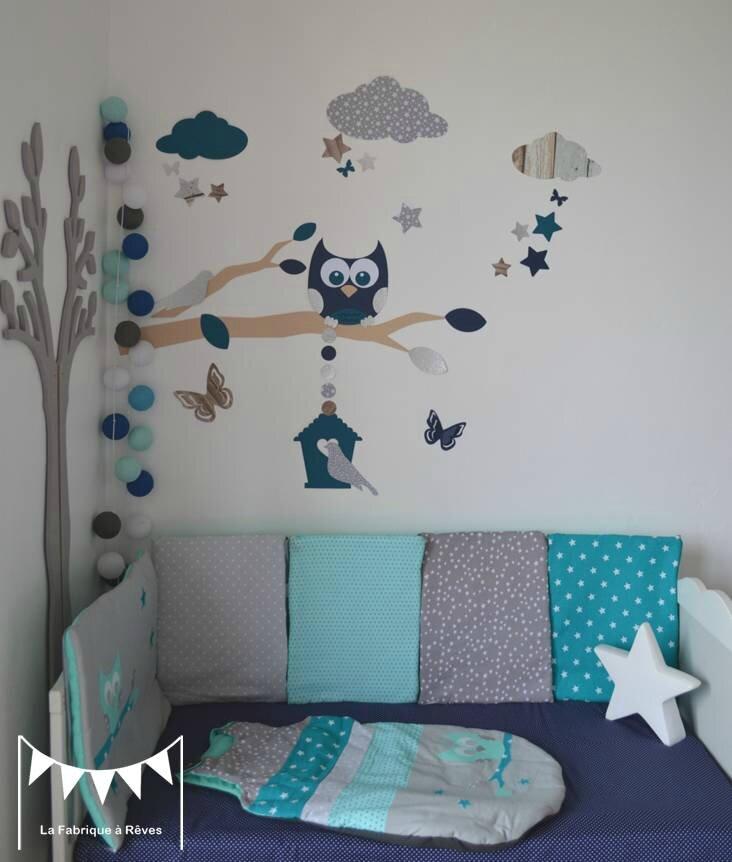 linge de lit bebe turquoise gris