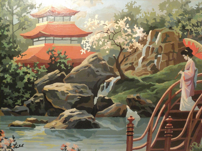 ancien tableau paysage jardin japonais