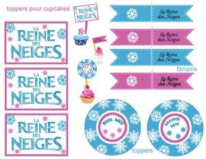 Etiquettes imprimables pour une table d'anniversaire Reine des Neiges