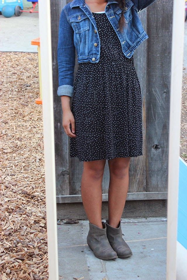 piday - what i wore: denim and dots