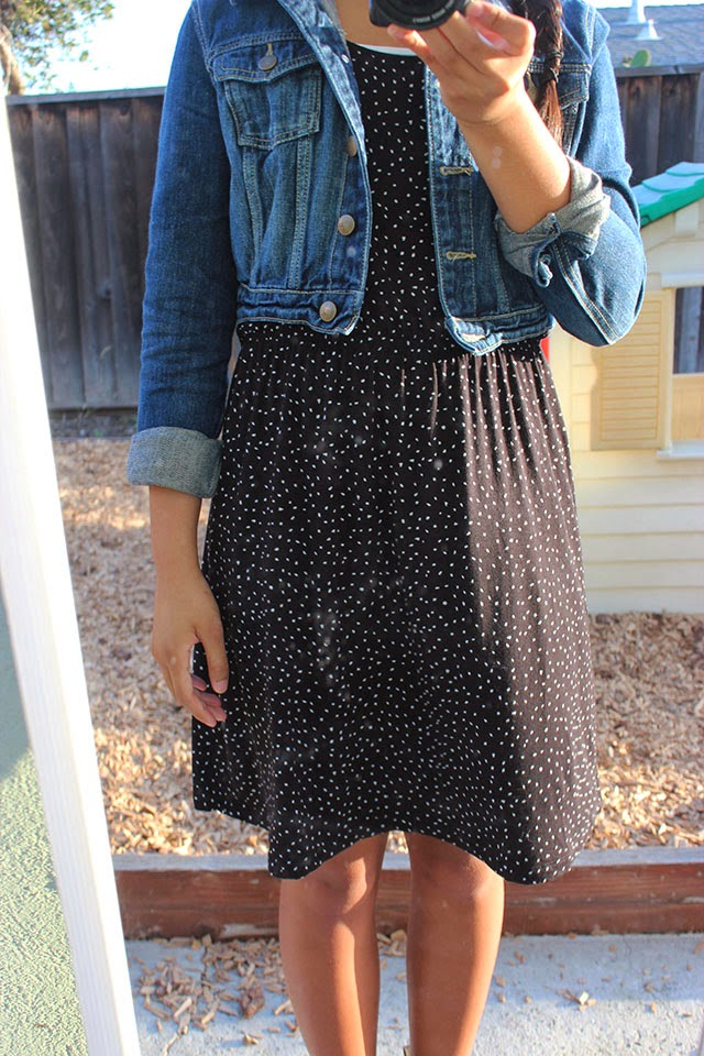 piday5 - what i wore: denim and dots