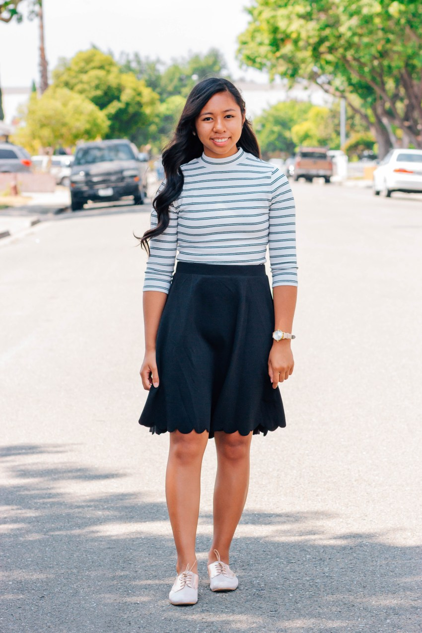 Classy stripes top and black midi skirt | 7 cute and modest back to school outfits that you can wear | high school and college outfits | P31beauty