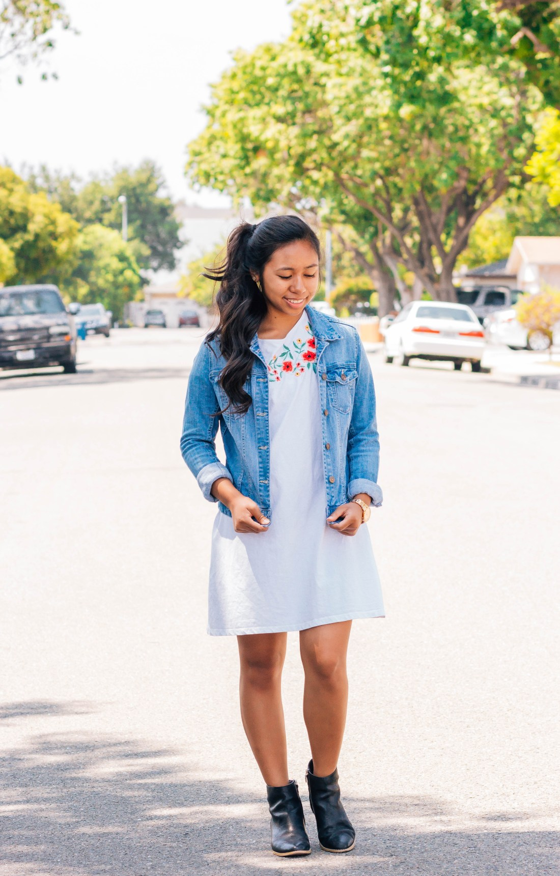 Denim jacket, white dress, and black ankle boots | 7 cute and modest back to school outfits that you can wear | high school and college outfits | P31beauty