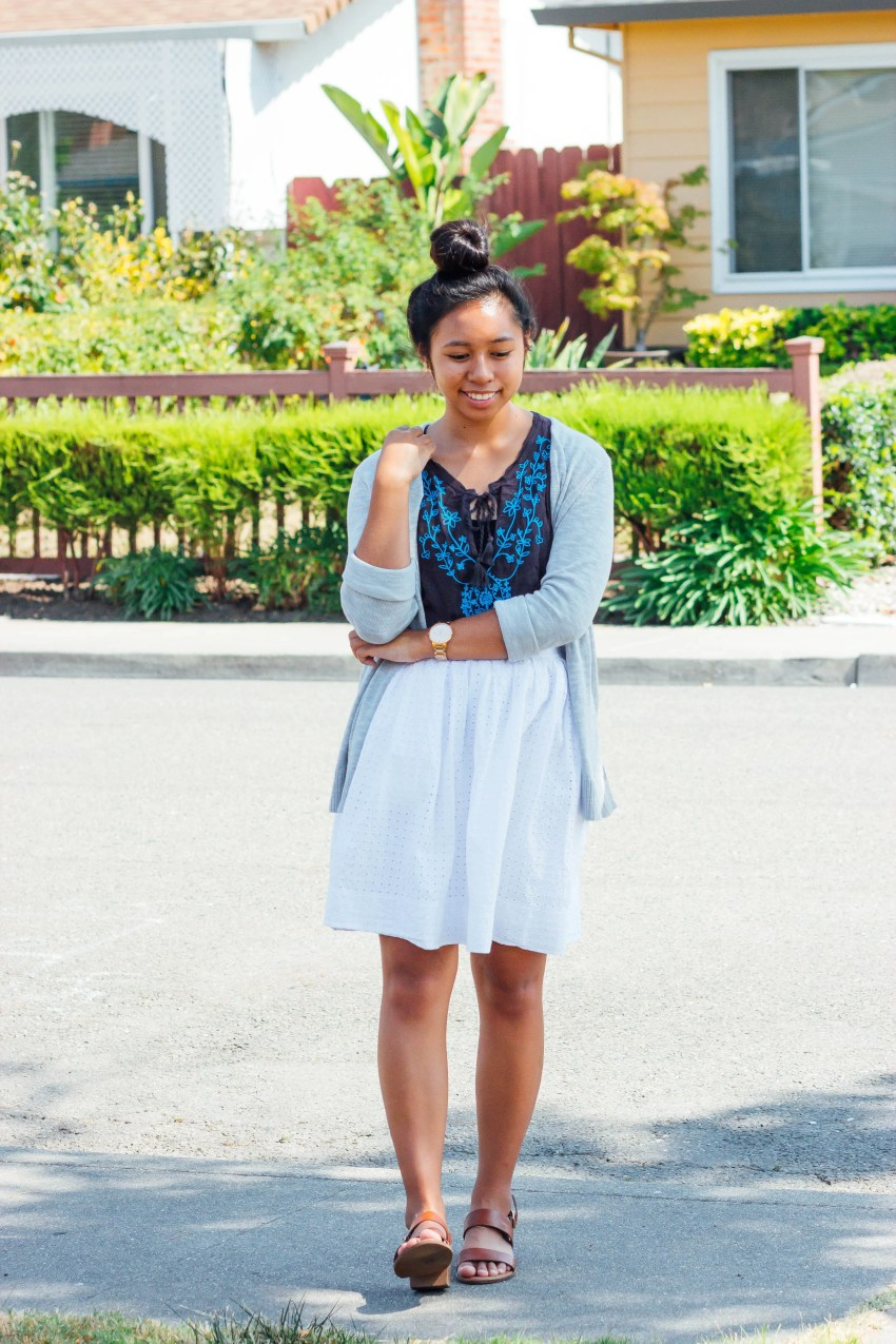 Gray cardigan, embroidered top, and white midi skirt | 7 cute and modest back to school outfits that you can wear | high school and college outfits | P31beauty