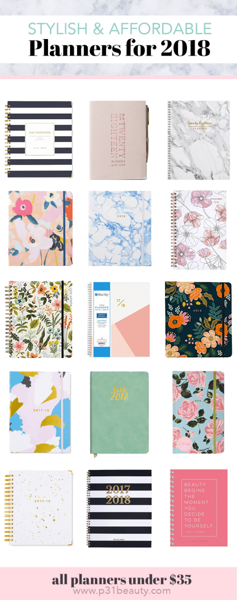 Stylish Planners Under $35 for 2018