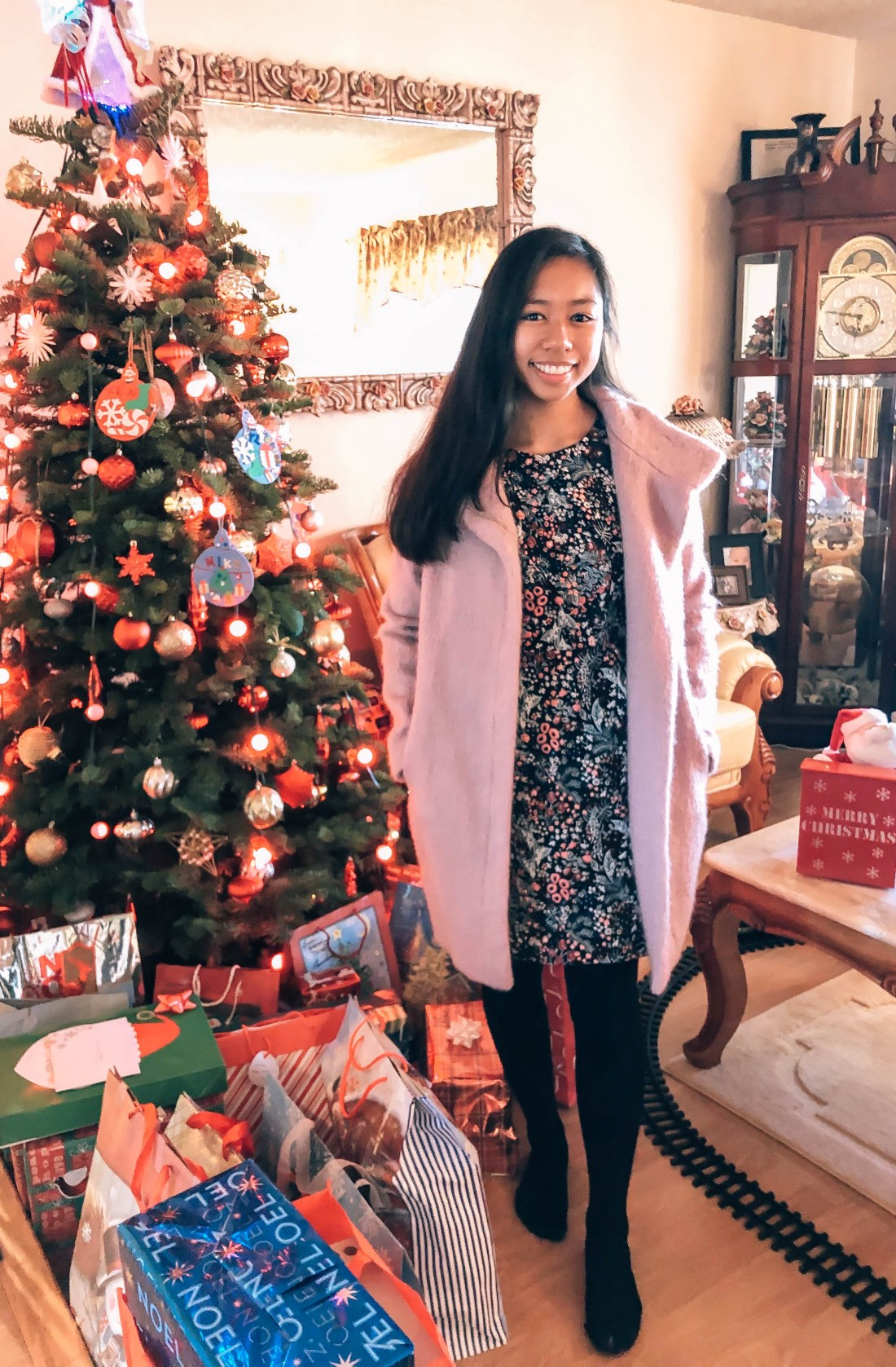 Christmas outfit, pink coat, embroidered flower dress