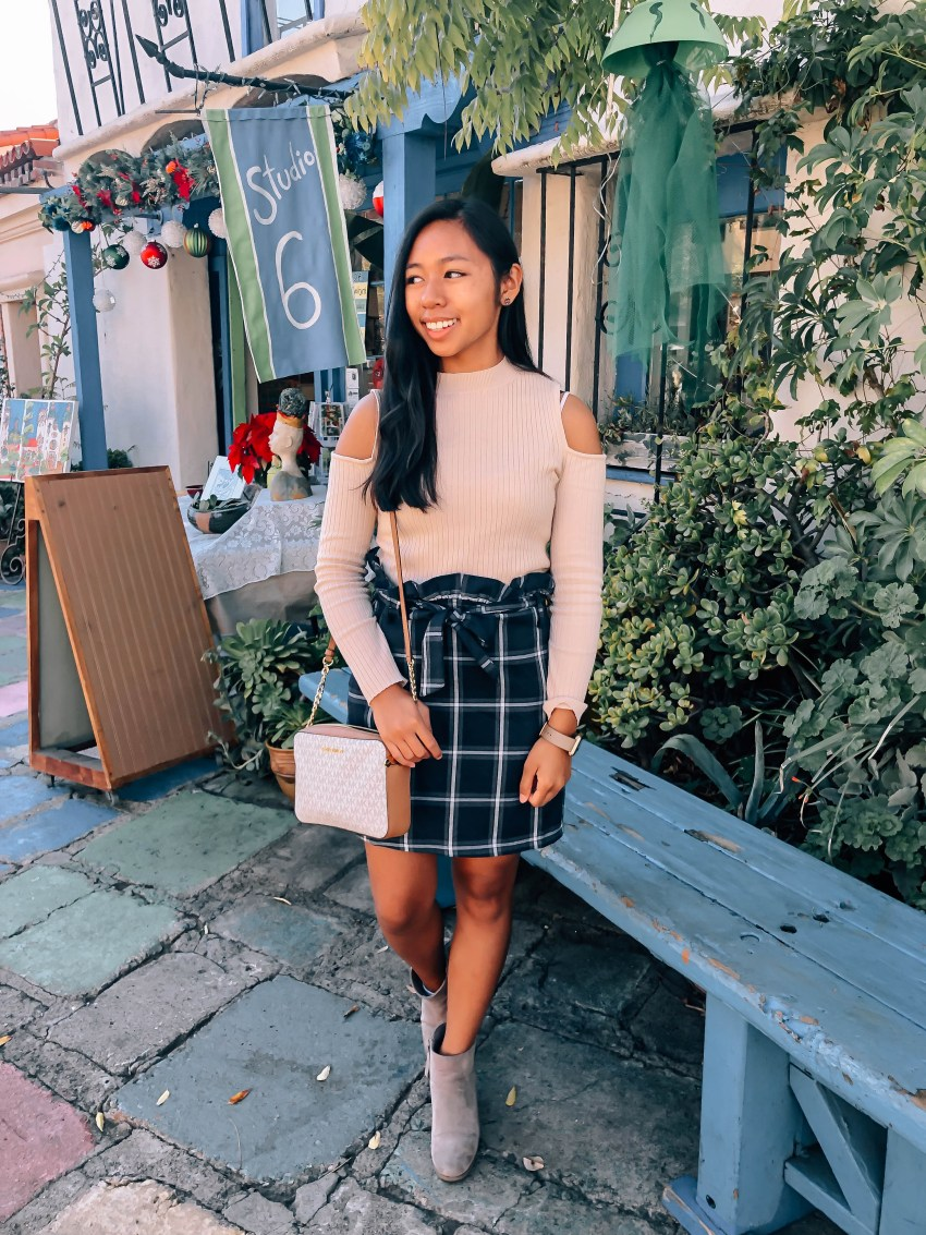 $13 plaid Shein skirt, winter outfit