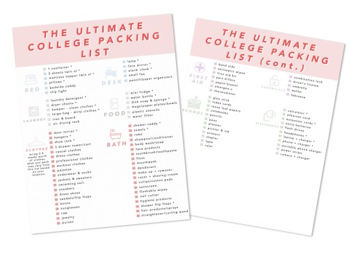 The Ultimate College Packing List - Everything You Need to Pack for College Dorm