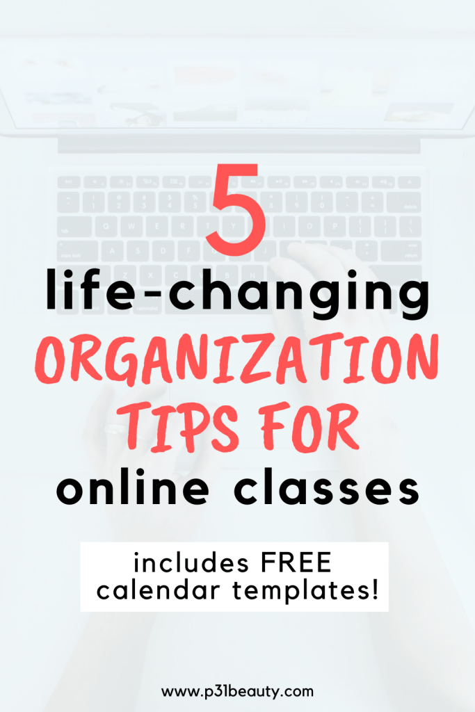Read this post for 5 life-changing organization tips for online classes. These tips will help you ace your online classes and make life so much easier. Be sure to download your FREE copies of a September 2020 monthly and weekly calendar template as well as a quarter or semester online calendar template!
