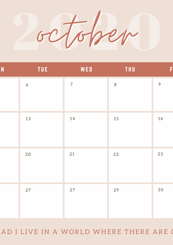 Free October and November Weekly and Monthly Calendar Templates