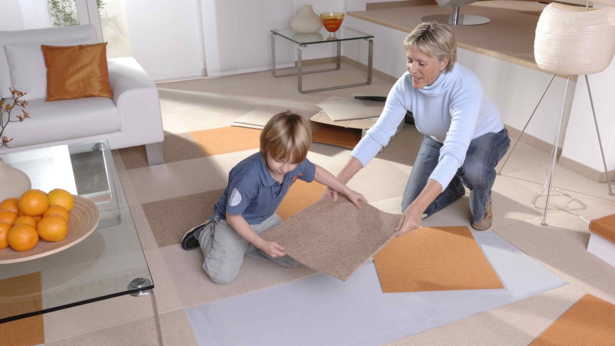 Fabulous Teppichfliesen – kreative Raumgestaltung mit Teppich – Teppichboden JH54
