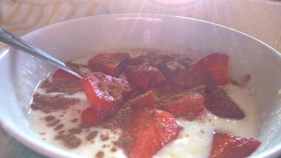 I like my yogurt with strawberries and pumpkin pie spice!