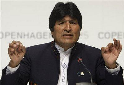 Bolivian President Juan Evo Morales gestures during a press conference at the climate summit in Copenhagen, Denmark, Wednesday, Dec. 16, 2009.(AP Photo/Anja Niedringhaus)