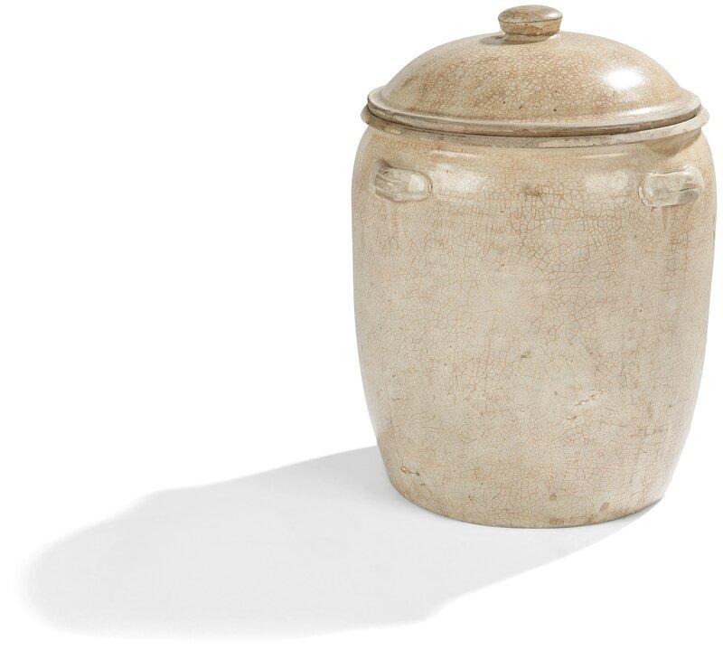 Pot couvert en grès beige craquelé, Vietnam, XVIIe-XVIIIe siècle